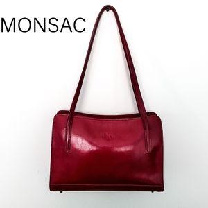 Monsac Footed Burgandy Leather Handbag Tote Purse